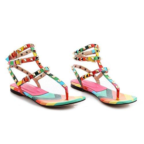 Arc-en-ciel los zapatos de las mujeres multicolor tachonado de talón abierto sandalia plana Multicolor