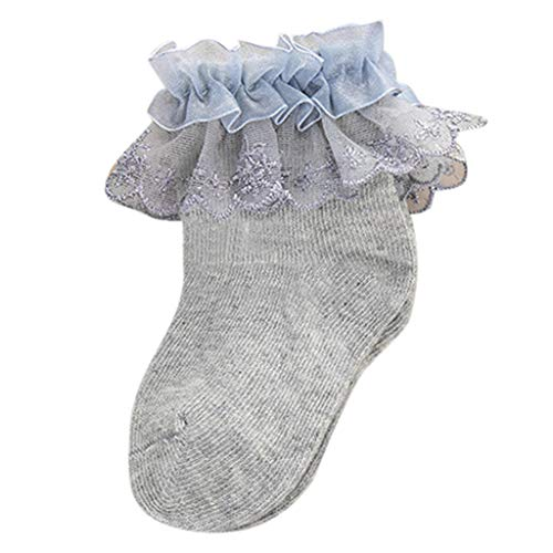 Kids Anti-Slip Floor Socks |Inkach Toddler Baby Non-Slip Cotton Socks Lace Ankle Booties Slipper (Age:6-12Months/Label Size:S, Gray)