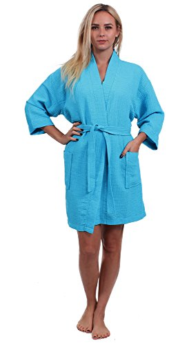 Turkuoise Women's Turkish Cotton Knee Length Lightweight Bridesmaids Waffle Kimono Robe Turquoise S/M ()