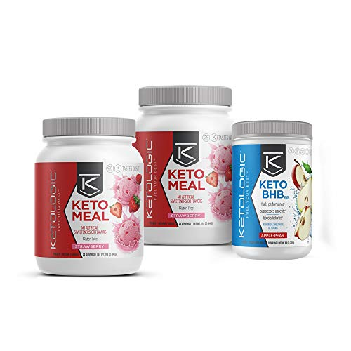 KetoLogic Keto 30 – 30-Day Bundle – Suppresses Appetite/Promotes Weight Loss/Increases Energy/Low Carb – Strawberry Meal Replacement MCT Shake and Apple-Pear BHB Salts