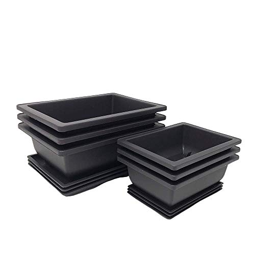 Bonsai Training Pots and Large Planters with Humidity Trays + Built in Mesh - Made from Durable Shatter Proof Poly-Resin (3 Six Inch Pots and 3 Eight Inch Trays Included)
