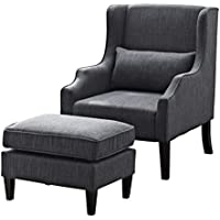 Simpli Home Ashbury Wingback Club Chair and Ottoman, Slate Grey