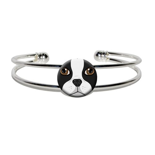 Boston Terrier Face - Dog Pet - Novelty Silver Plated Metal Cuff Bangle -