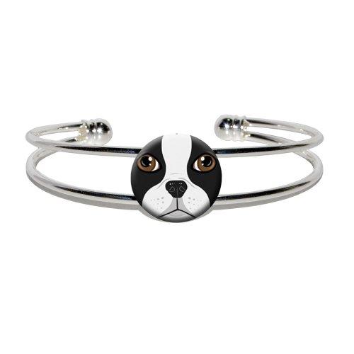 Boston Terrier Face - Dog Pet - Novelty Silver Plated Metal Cuff Bangle Bracelet -