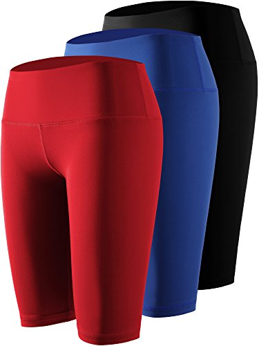 Waist Workout Running Compression Shorts with Pocket,04,Black,Blue,Red,Large ()