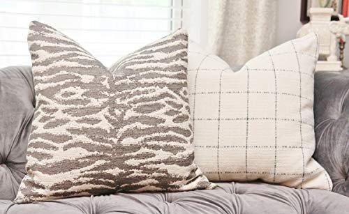 CELYCASY Sale 2500 Animal Print Gray Ivory Zebra Light Gray Neutral Pillow Cover Modern Grey Ivory Throw Pillow Motif Pillows (Gray Zebra)