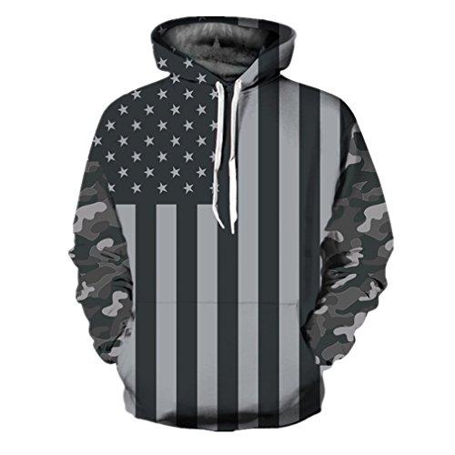 Samefar Womens Men Realistic 3D Digital Print Pullover Hoodie Hooded Sweatshirt Large/X-Large Black White American Flag - American Flag Hooded Sweatshirt