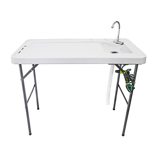 Folding Multifunctional Fish Table/Picnic Table/Hunting Cutting Table/Camping Picnic Outdoor Gardening Table with Spray Gun & Faucet White by Wegi King