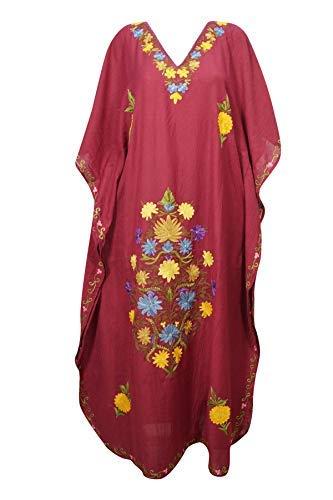 49e21f64ab5 Mogul Interior Women Maxi Kaftan Maroon Cotton Crush Embroidered Long Caftan  One Size: Amazon.co.uk: Clothing