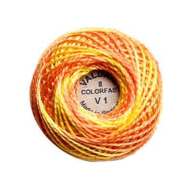 (Valdani Perle Cotton Size 8 Embroidery Thread, 72 Yard Ball - v1 Orange Blossom (variegate))
