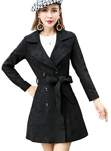 Double Suede Coat Breasted - chouyatou Women's Cute Lapel Collar Double Breasted Slim Lightweight Belted Suede Trench Coat (Medium, Black)