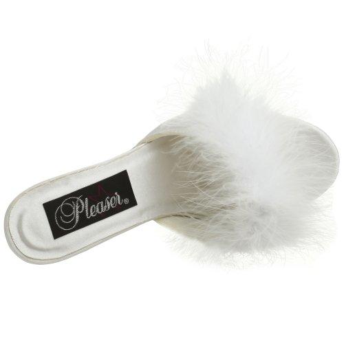 Fabulicious AMOUR-03 Wht Satin-Fur Size UK 4 EU 37