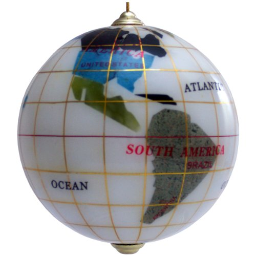 Handcrafted Gemstone Christmas Globe Ornament, Snow