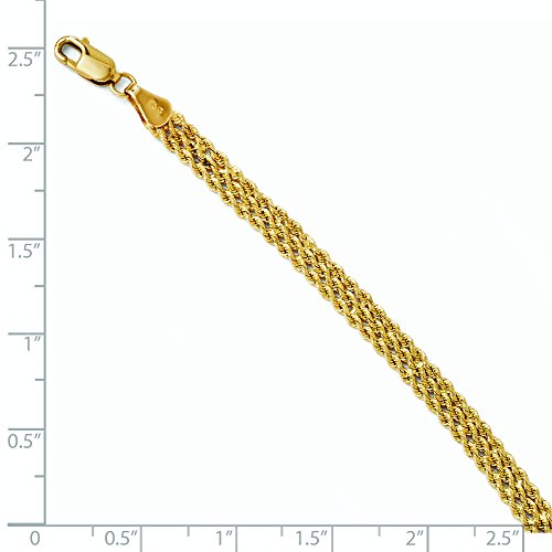 14 carats Diamant 1,5 mm-cut Triple Bracelet chaine de corde JewelryWeb-- 8 ""