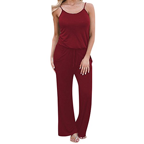 ◕‿◕Watere◕‿◕ Women's Sexy Deep V Neck Short Sleeve Wrap Drawstring Waist Jumpsuit Romper with Pockets Red ()