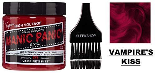 MANIC PANIC CLASSIC Semi-Permanent HAIR COLOR Cream N.Y.C. (w/Sleek Tint Brush) Tish & Snooky's VEGAN High Voltage Haircolor Dye 4 oz / 118 ml (Vampire Kiss)
