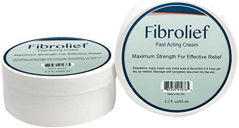 Fibrolief: Fast Acting Cream - All-Natural - Maximum Strength, Absorbs Fast - Safe for Fibromyalgia - Lower Back, Headache, Joint, Muscle & Tissue Pain Treatment - 2.2 Ounce Jar