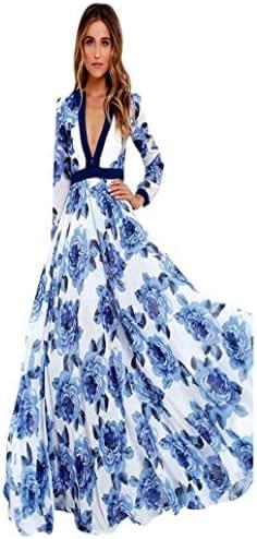 Women Dress,Womens Maxi Princess Party Dress Boho Summer Print Long Dress (Blue, XXL)