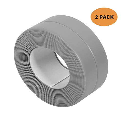 Tub and Wall Sealing Caulk Strip Wall and Corner Self Adhesive Peel and Caulk Strip Fixture Tape Caulk Sealer Tub Surround Waterproof Decorative Sealer Trim Pack of 2 (Grey) by TopWoot