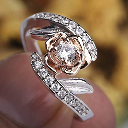 (Chuan Han European and American Fashion Rose Gold Ring Female Zircon Gift Jewelry, Semi-Precious Stones, Sweet Style, Wedding, Channel Setting Plants, Attending Cocktail Party Rings, Micro-Set, T)
