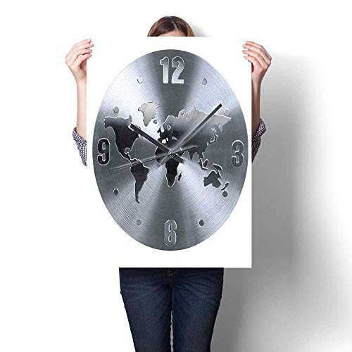 (3D Hand Painting,A Silver Clock Pattern with a World Map Checking The Time Hour and Oils,Wall Art for Hallway Bathroom,12