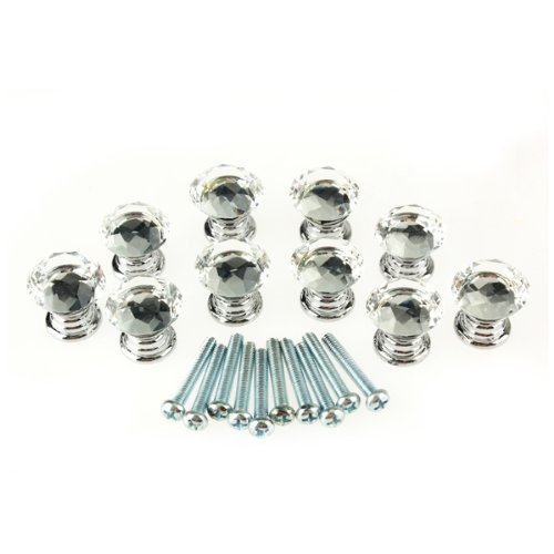 10 Pcs 20mm Glass Cabinet Knobs Drawer Pull Furniture Handle - 3