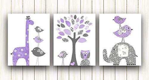 Nursery decor kids wall art - Baby Girl Nursery Art - Set of three prints - Elephant Owl Tree Birds purple and gray ()