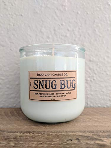 SNUG BUG, Hand Poured Scented 10oz Soy Candle in 100% Recycled Glass Tumblers