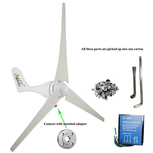 Wonderful Online Wind Turbine Generator Kit 400Watt DC12/24V of 3 Blades homes, businesses, and industrial energy supplementation
