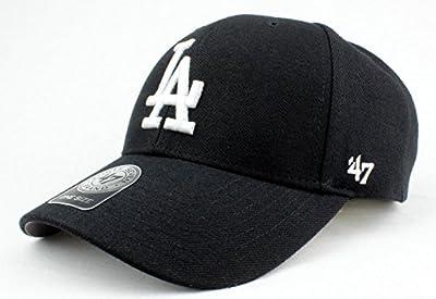 Los Angeles Dodgers Hat MLB Authentic '47 (Forty Seven) Brand MVP Velcroback Cap Black Black White Logo Baseball Cap Adult One Size Unisex Men & Women 85% Acrylic 15% Wool