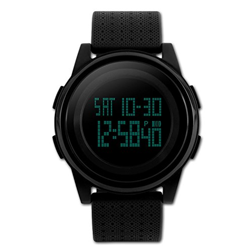 Digital Sports Watch Water Resistant Outdoor Electronic Ultra Thin Waterproof LED Military Back Light Black Men's (Womens Digital Sport Watch)