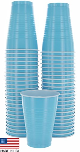 Amcrate Light Blue Colored 12-Ounce Disposable Plastic Party Cups - Ideal for Weddings, Party's, Birthdays, Dinners, Lunch's. (Pack of 50) -