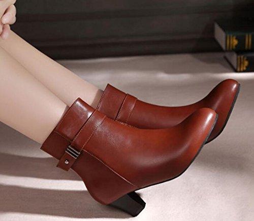 brown Pesanti Donna 5cm 38 Con Martin Velluto In Corti Khskx Stivali Inverno Donne pqdHwUpTg