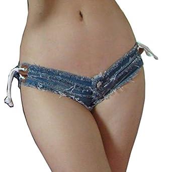Yollmart Women Sexy Cut Off Low Waist Denim Jeans Shorts