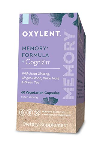 Oxylent Memory Formula Vegetarian Capsules - Delivers Natural Ingredients Citicoline, Yerba Maté, Ginseng Root, Gingko Biloba & Green Tea Leaf to Support Cognitive Function & Mental Clarity, 60 Count