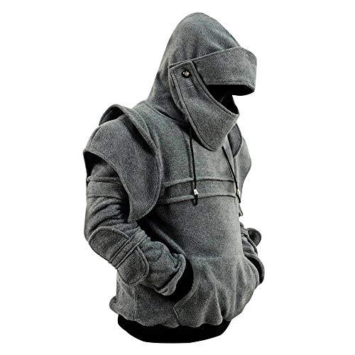 Men's Arthur Knight Hoodie Medieval Armor Sweatshirt Hooded Jacket Coat (Men XXL, Light Gray) ()