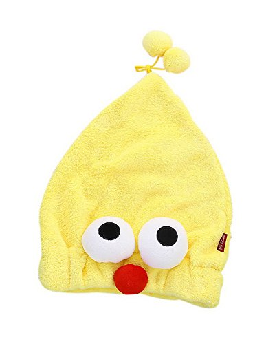 Super Absorbent Adult Drying Hair Cap Quick-drying Bath Cap Cute Yellow Big Eyes by Gentle Meow