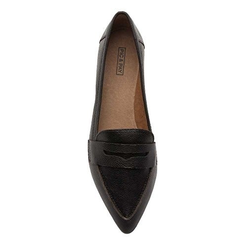 Pic / Pay Margo Womens Flats - Puntige Teen Penny Loafer Zwart Leer