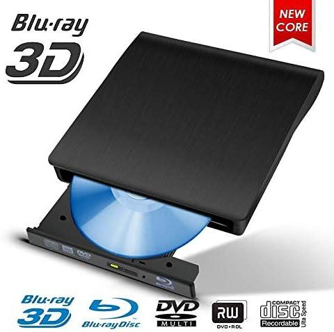 Lcxliga USB 3.0外付けDVD CDドライブバーナー、ラップトップノートブックPCデスクトップコンピューター用ポータブル超薄型CD/DVD-RWバーナーライタープレーヤー