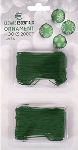 Green Christmas Ornaments Hooks - Green Ornament Hangers - Large 2.5 inch (Green) 200ct