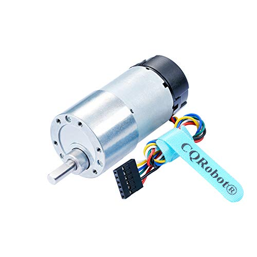 Metal DC Geared Motor w/Encoder, Support DC 6V 125rpm 8.9kg.cm/DC 12V 251rpm 18kg.cm, Gear Ratio 43.8:1, for Projects Such as Robot RC Car Model DIY Engine Toy, Custom Servo, Arduino and 3D Printers.