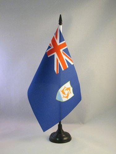 AZ FLAG Anguilla Table Flag 5'' x 8'' - Anguillian - British Desk Flag 21 x 14 cm - Black Plastic Stick and -