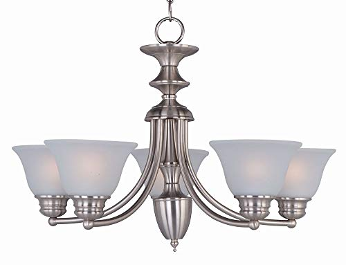 Maxim 2699FTSN Malaga 5-Light Chandelier, Satin Nickel Finish, Frosted Glass, MB Incandescent Incandescent Bulb , 60W Max., Dry Safety Rating, Standard Dimmable, Opal Glass Shade Material, Rated Lumens