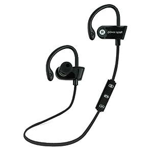 Aobiny Earphone Bluetooth Ear Hook Wireless Sports Stereo Waterproof Headset Earphone (Black)