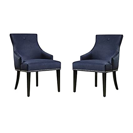 Amazon Com Home Square Set Of 2 Accent Chairs In Navy Blue Chairs