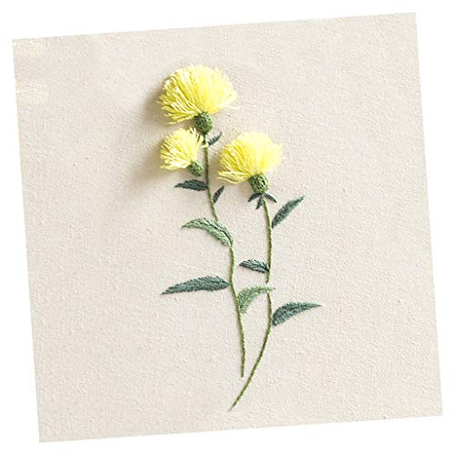 SM SunniMix Stumpwork Crafts Hand Embroidery Starter Kit Pre-Printed Flower Pattern for DIY Needlework Craft - Thistle ()