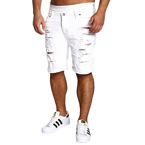 Chen Men Fashion Casual Shorts Ripped Distressed Washed Denim Shorts With Hole (W34