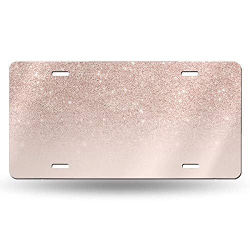 NELife License Plate Rose Gold Glitter Pink Ombre Vintage Aluminum Sign Novelty Tag Plaque Wall Decor for Truck Car Motorcycle Moped Key Chain Garage Bedroom Living Room 12 X 6 Inch