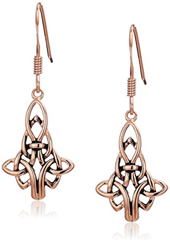 (14K Gold Plated Sterling Silver Celtic Drop Earrings, Rose)