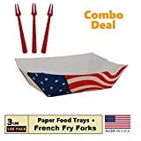 USA Flag Paper Food Trays, (3 LB) Take Out Food Boat Basket Holder Containers - Value Pack of 100 Trays, 50 French Fry Forks - Patriotic Theme Set